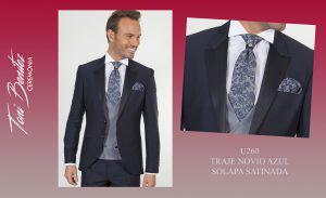 Trajes y Vestidos: U260 TRAJE NOVIO AZUL SOLAPA SATINADA - Benitez & Paulano | Trajes de novio y vestidos de fiesta