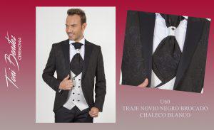 Trajes y Vestidos: U60 TRAJE NOVIO NEGRO BROCADO CHALECO BLANCO - Benitez & Paulano | Trajes de novio y vestidos de fiesta