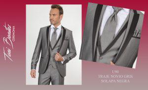 Trajes y Vestidos: U90 TRAJE NOVIO GRIS SOLAPA NEGRA - Benitez & Paulano | Trajes de novio y vestidos de fiesta